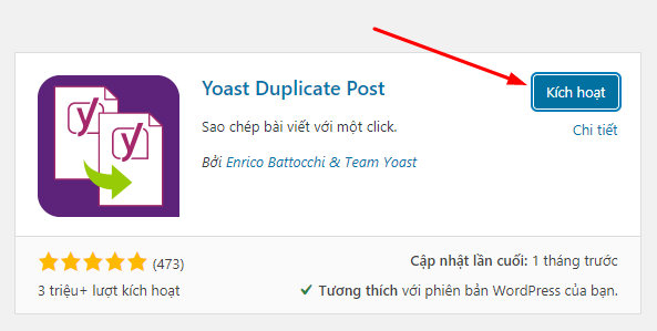 kích hoạt Yoast Duplicate Post