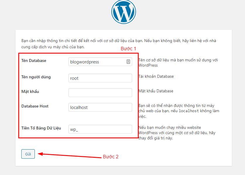 kết nối database cài wordpress