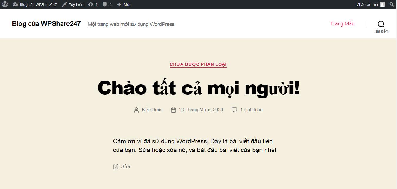 theme mặc định wordpress