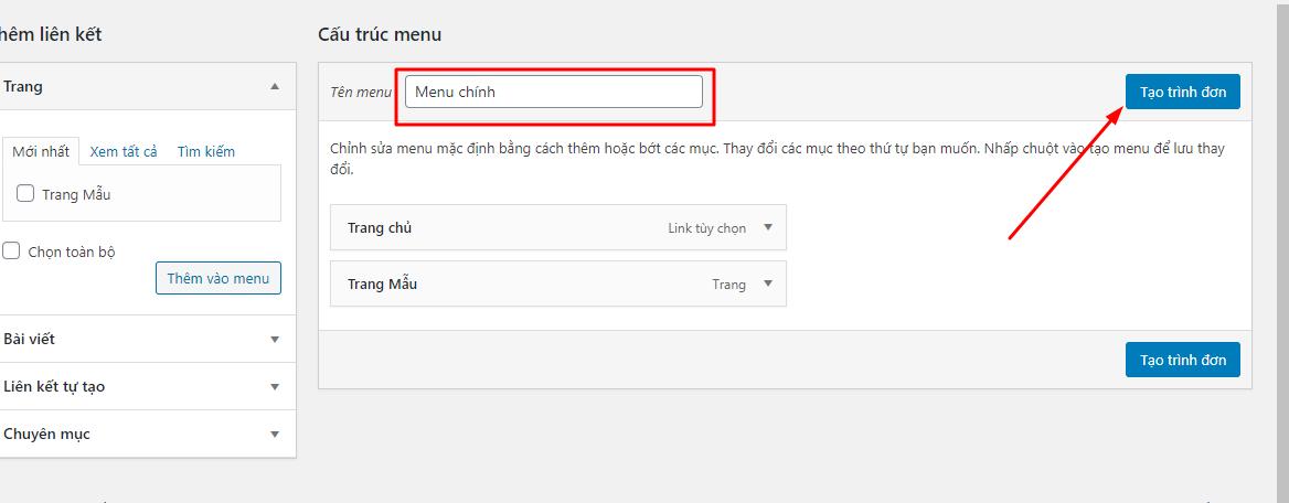 quản lí menu wordpress