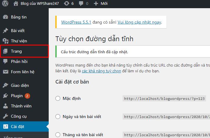 thêm .html vào trang trong wordpress