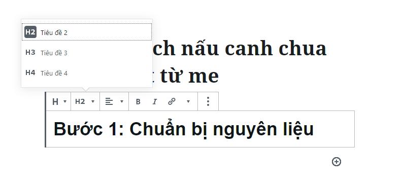 chèn tiêu đề h2 wordpress