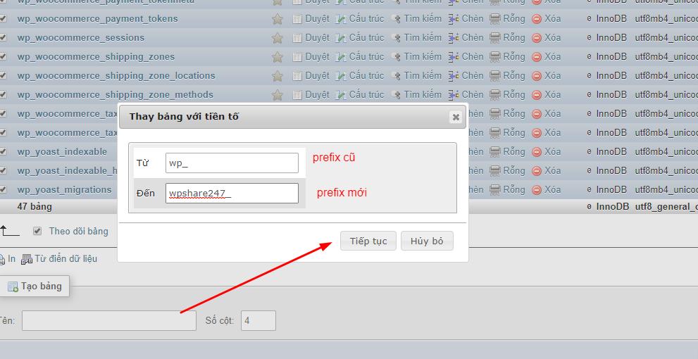 Hướng dẫn cách thay đổi prefix database trong wordpress