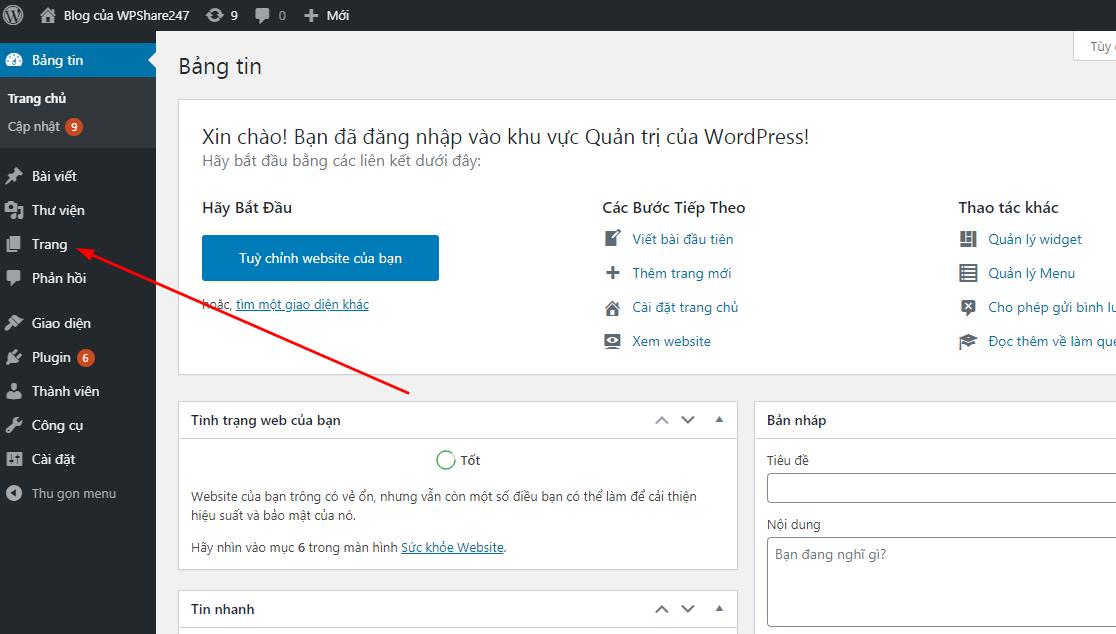 Trang trong WordPress là gì ?